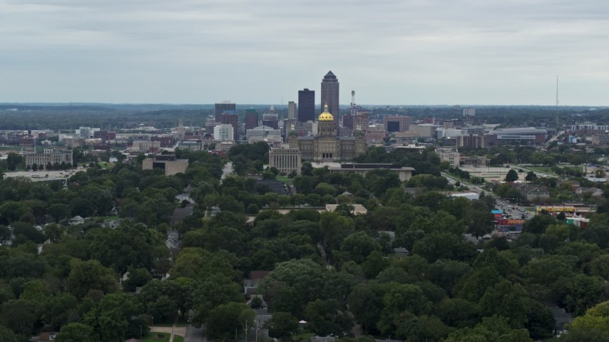 5.7K stock footage aerial video of a wide view of the state capitol and the skyline of Downtown Des Moines, Iowa Aerial Stock Footage | DX0002_166_022