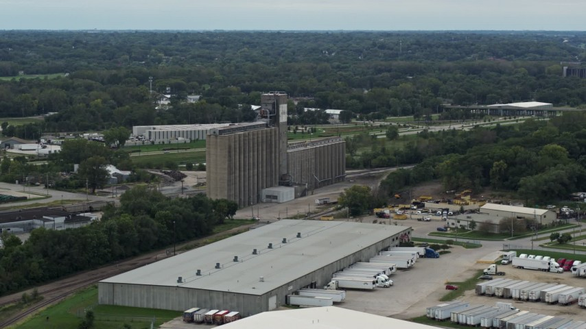 5.7K stock footage aerial video orbit a grain elevator in Des Moines, Iowa Aerial Stock Footage | DX0002_166_023
