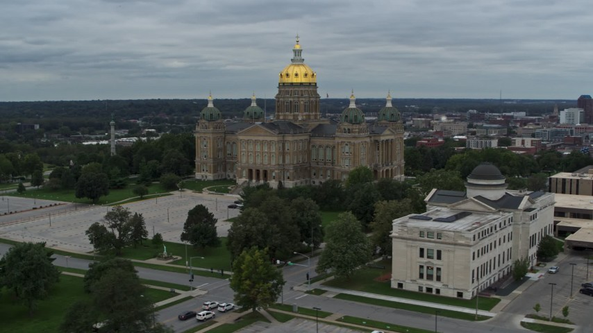 5.7K stock footage aerial video orbit the state library building and the Iowa State Capitol, Des Moines, Iowa Aerial Stock Footage | DX0002_166_028