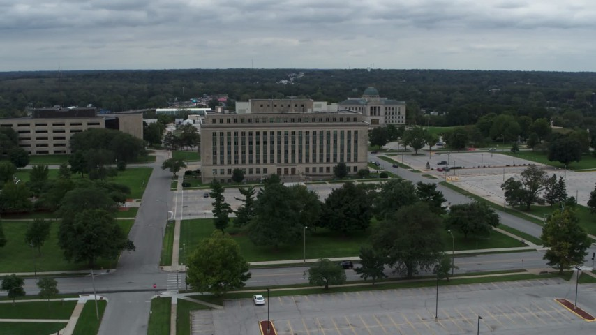 5.7K stock footage aerial video orbit and approach a state government office building, Des Moines, Iowa Aerial Stock Footage | DX0002_166_030