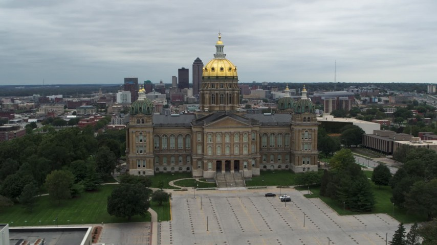 5.7K stock footage aerial video orbit the front side of the Iowa State Capitol building in Des Moines, Iowa Aerial Stock Footage   DX0002_166_036
