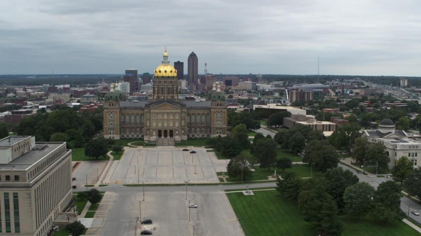 5.7K stock footage aerial video of the distant skyline behind the capitol building, Des Moines, Iowa Aerial Stock Footage | DX0002_166_039