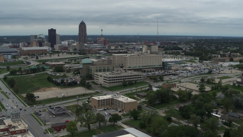 5.7K stock footage aerial video orbit a hospital in Des Moines, Iowa Aerial Stock Footage | DX0002_166_044