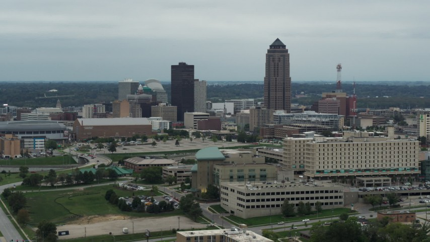 5.7K stock footage aerial video of the city's skyline and skyscraper in Downtown Des Moines, Iowa, seen from the hospital Aerial Stock Footage | DX0002_167_004