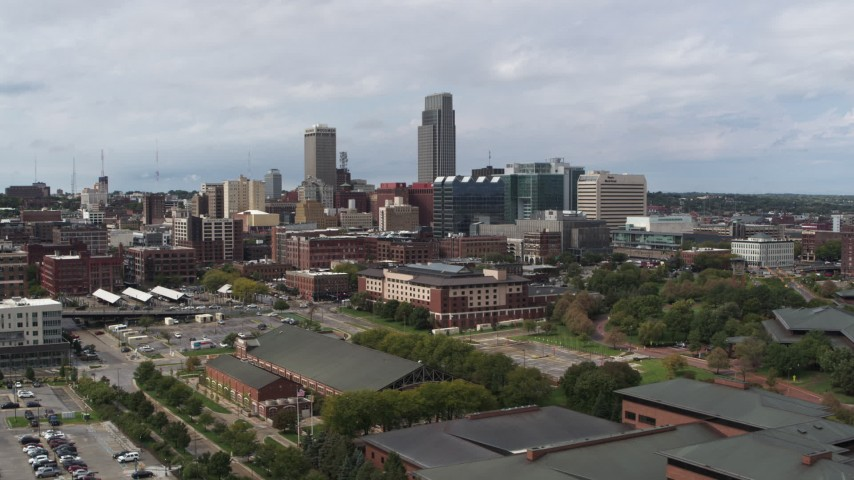 5.7K stock footage aerial video of the city's skyline in Downtown Omaha, Nebraska Aerial Stock Footage | DX0002_168_001