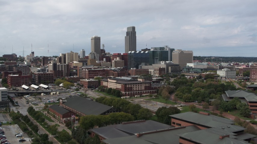 5.7K stock footage aerial video of the downtown skyline in Downtown Omaha, Nebraska Aerial Stock Footage | DX0002_168_006