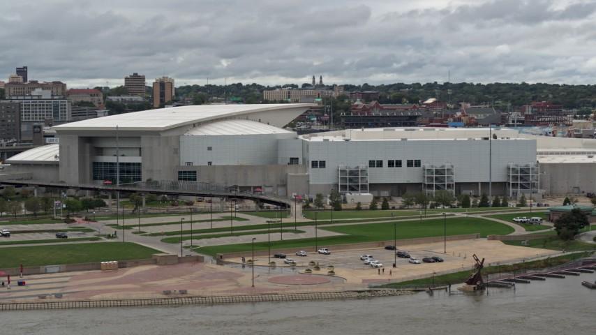 5.7K stock footage aerial video of orbiting CHI Health Center Omaha arena, Downtown Omaha, Nebraska Aerial Stock Footage   DX0002_169_004