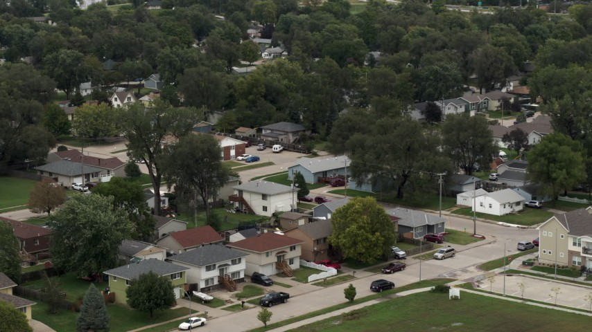 5.7K stock footage aerial video of suburban homes and streets in Council Bluffs, Iowa Aerial Stock Footage | DX0002_169_007