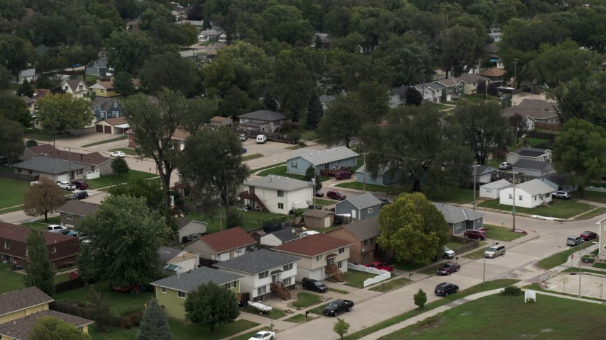 5.7K stock footage aerial video of suburban homes and quiet streets in Council Bluffs, Iowa Aerial Stock Footage | DX0002_169_008