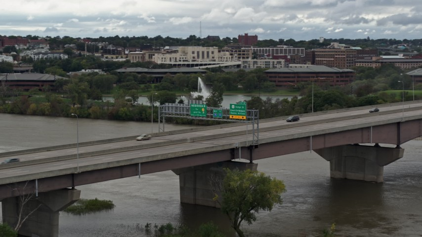 5.7K stock footage aerial video of light traffic crossing the I-480 bridge, Omaha, Nebraska Aerial Stock Footage | DX0002_169_010