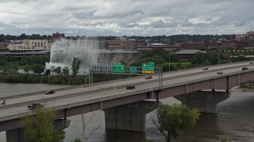 5.7K stock footage aerial video of traffic moving across the I-480 bridge, Omaha, Nebraska Aerial Stock Footage   DX0002_169_011