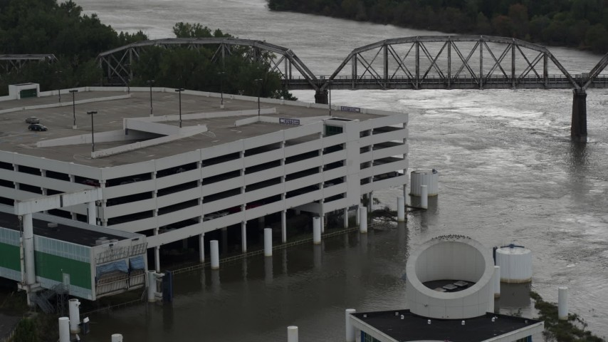 5.7K stock footage aerial video of a flooded parking garage in Council Bluffs, Iowa Aerial Stock Footage | DX0002_169_014