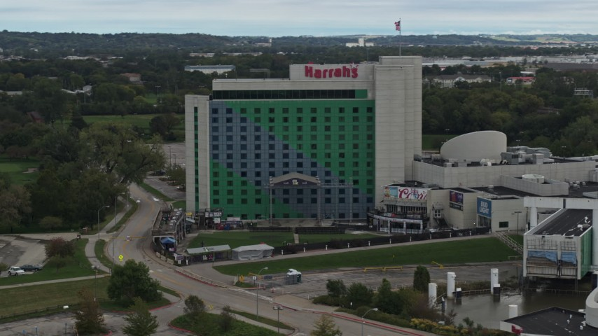5.7K stock footage aerial video orbit the hotel and casino in Council Bluffs, Iowa Aerial Stock Footage | DX0002_169_017