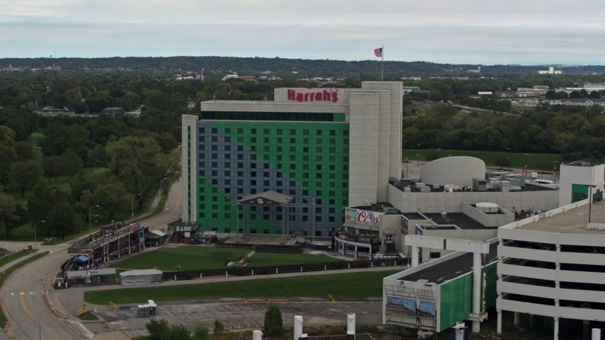 5.7K stock footage aerial video of approaching the hotel and casino in Council Bluffs, Iowa Aerial Stock Footage | DX0002_169_039