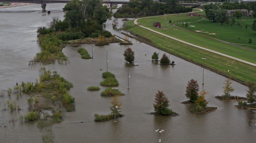 5.7K stock footage aerial video of orbiting flooded parking lot in Council Bluffs, Iowa Aerial Stock Footage | DX0002_169_040