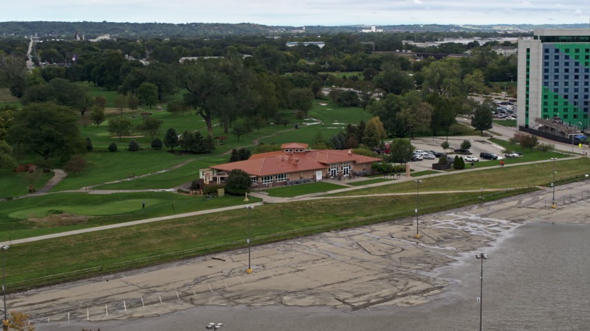 5.7K stock footage aerial video of a golf club in Council Bluffs, Iowa Aerial Stock Footage | DX0002_169_042