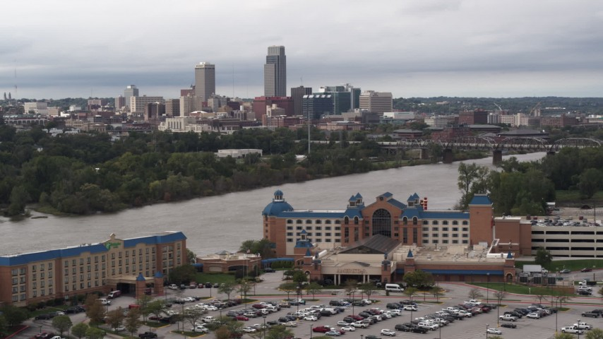 5.7K stock footage aerial video of the city's skyline seen from the other side of the Missouri River, Downtown Omaha, Nebraska Aerial Stock Footage | DX0002_170_002