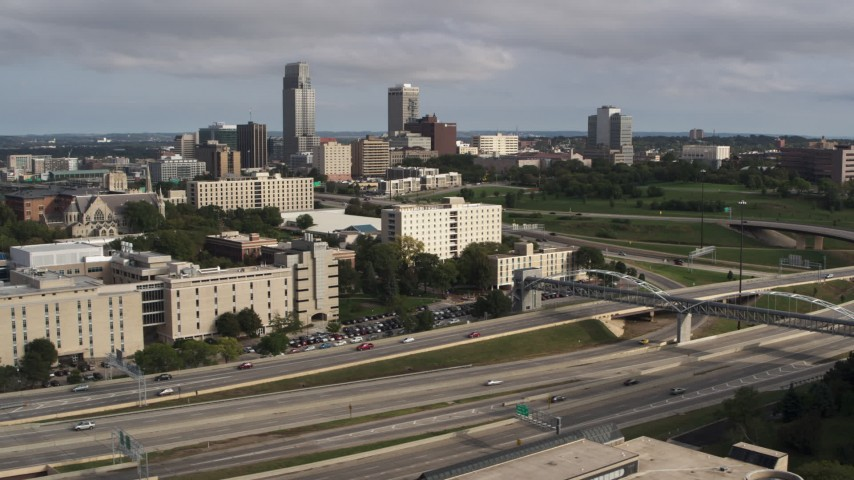 5.7K stock footage aerial video of the city's skyline seen from university and North Freeway, Downtown Omaha, Nebraska Aerial Stock Footage | DX0002_170_014