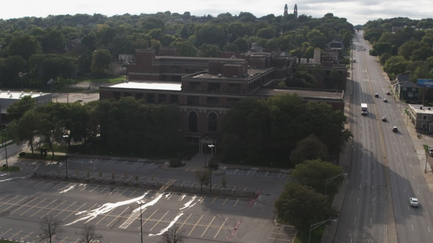 5.7K stock footage aerial video orbit and fly away from the side of Omaha Adult High School in Omaha, Nebraska Aerial Stock Footage | DX0002_170_020
