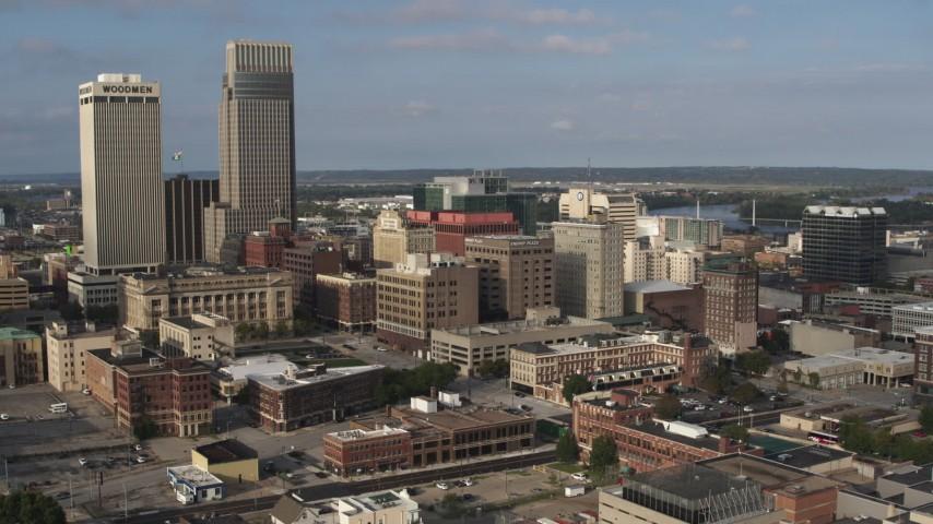 5.7K stock footage aerial video orbit office buildings near skyscrapers in Downtown Omaha, Nebraska Aerial Stock Footage | DX0002_170_028