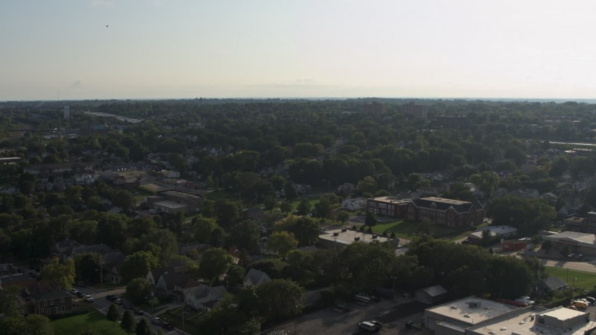 5.7K stock footage aerial video of a wide view of suburban neighborhoods in Omaha, Nebraska Aerial Stock Footage | DX0002_170_030