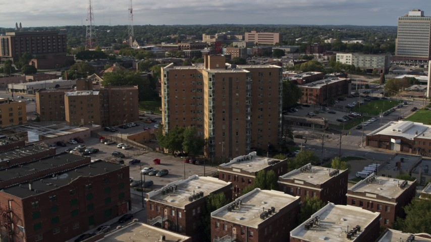 5.7K stock footage aerial video approach an apartment building in Omaha, Nebraska Aerial Stock Footage | DX0002_170_033