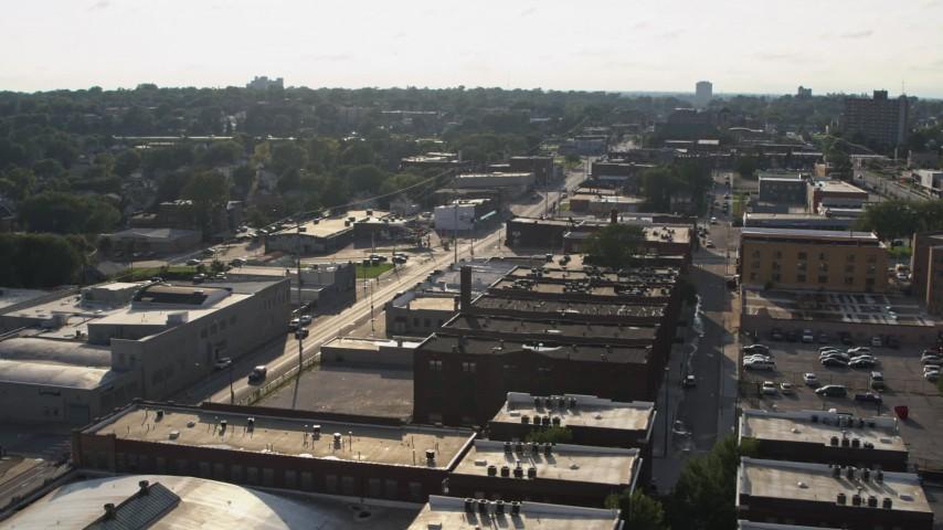 5.7K stock footage aerial video orbit apartment buildings and Leavenworth Avenue in Omaha, Nebraska Aerial Stock Footage | DX0002_170_036