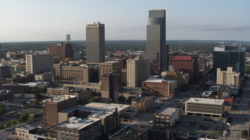 5.7K stock footage aerial video stationary view of the city's skyscrapers in Downtown Omaha, Nebraska Aerial Stock Footage | DX0002_170_038