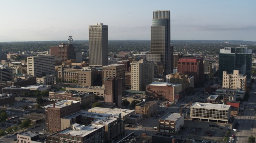5.7K stock footage aerial video static view of the city's skyscrapers in Downtown Omaha, Nebraska Aerial Stock Footage | DX0002_170_039