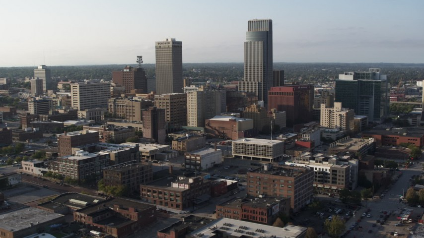 5.7K stock footage aerial video stationary view of the city's tall skyscrapers in Downtown Omaha, Nebraska Aerial Stock Footage | DX0002_170_040