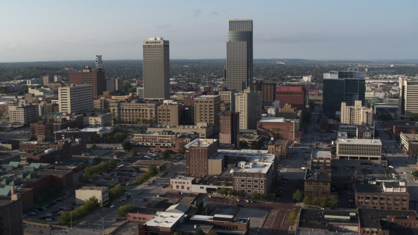 5.7K stock footage aerial video slowly orbiting the city's tall skyscrapers in Downtown Omaha, Nebraska Aerial Stock Footage | DX0002_170_042
