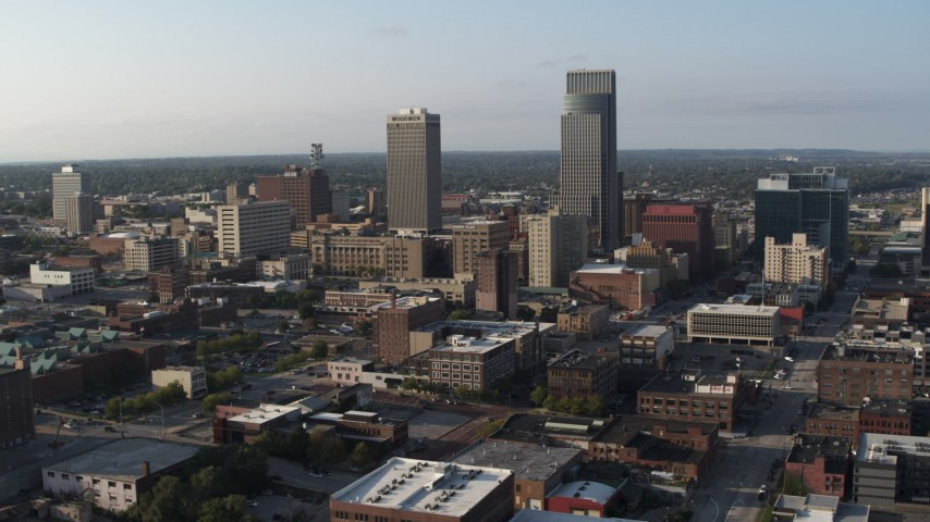 5.7K stock footage aerial video slowly circling the city's tall skyscrapers in Downtown Omaha, Nebraska Aerial Stock Footage | DX0002_170_043