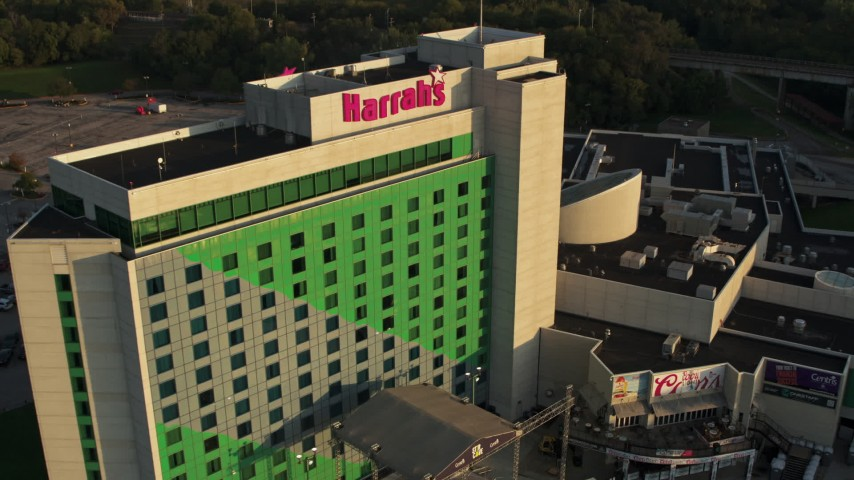 5.7K stock footage aerial video fly away from the hotel and casino at sunset, Council Bluffs, Iowa Aerial Stock Footage | DX0002_172_005