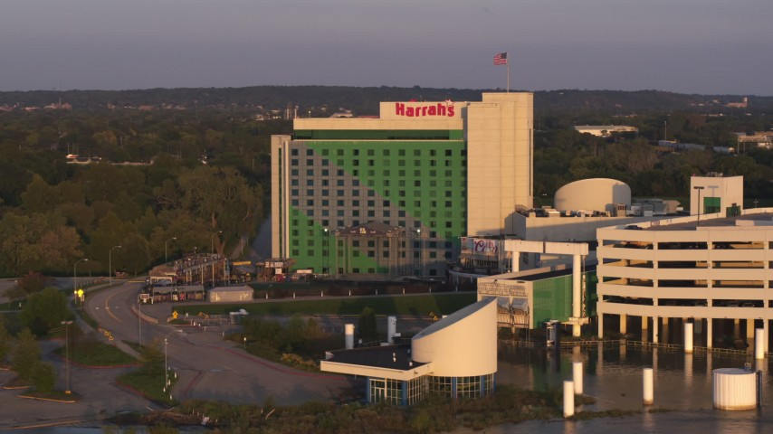 5.7K stock footage aerial video orbit the hotel and casino at sunset in Council Bluffs, Iowa Aerial Stock Footage | DX0002_172_021