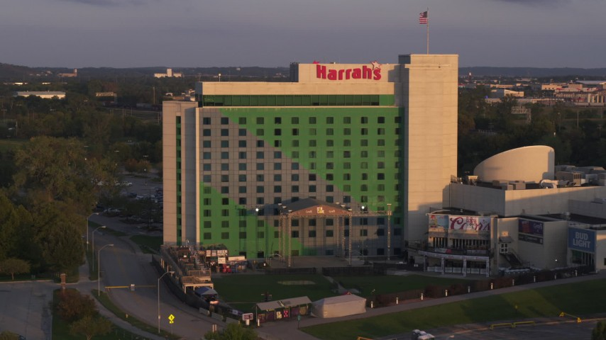 5.7K stock footage aerial video approaching the hotel and casino at sunset in Council Bluffs, Iowa Aerial Stock Footage | DX0002_172_022