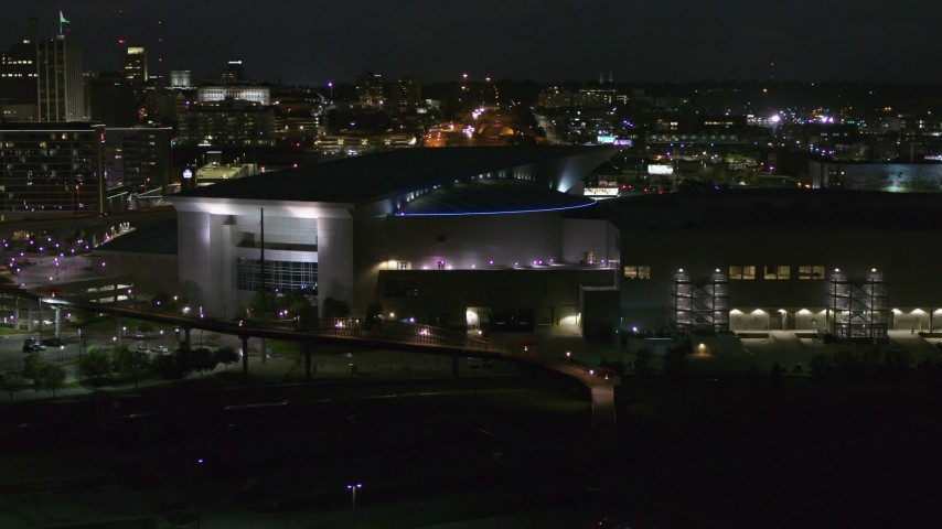 5.7K stock footage aerial video orbit arena and convention center complex at night, Downtown Omaha, Nebraska Aerial Stock Footage | DX0002_173_025