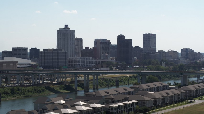 5.7K stock footage aerial video of the city's skyline seen from a bridge in Downtown Memphis, Tennessee Aerial Stock Footage | DX0002_177_001