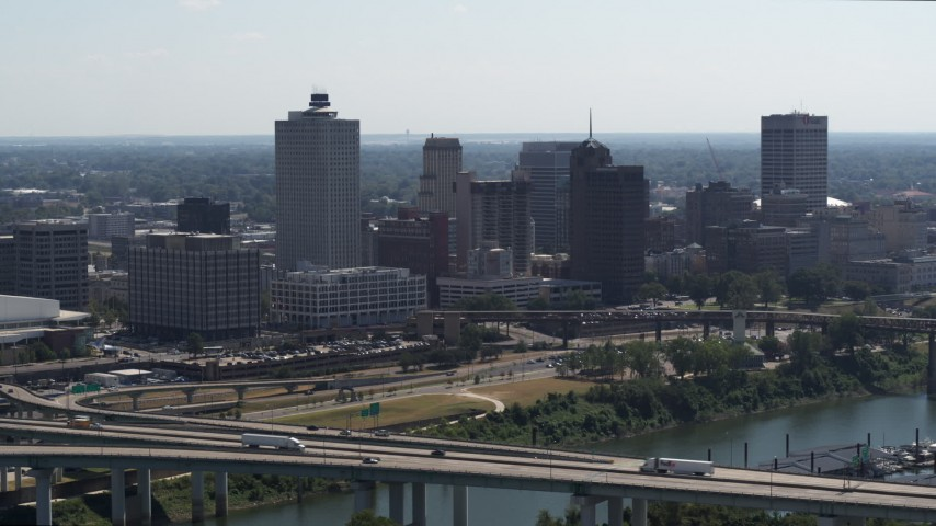 5.7K stock footage aerial video stationary view of the city's skyline seen from a bridge in Downtown Memphis, Tennessee Aerial Stock Footage | DX0002_177_002