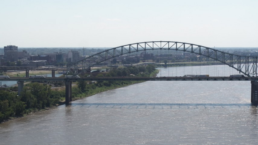 5.7K stock footage aerial video of a bridge spanning the Mississippi River, Memphis, Tennessee Aerial Stock Footage | DX0002_177_015