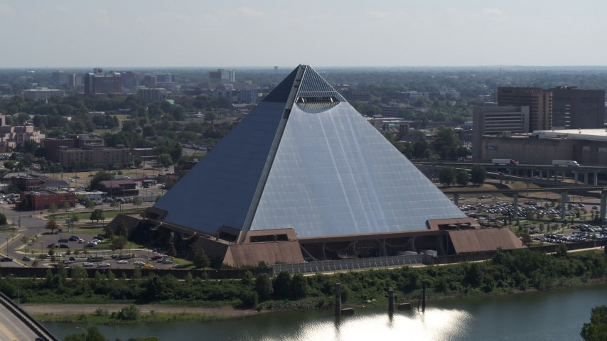 5.7K stock footage aerial video of orbiting the Memphis Pyramid in Downtown Memphis, Tennessee Aerial Stock Footage | DX0002_177_018