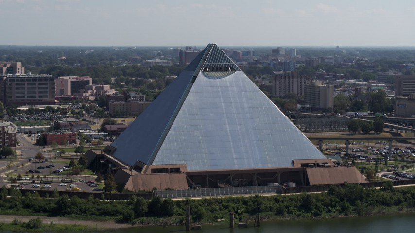 5.7K stock footage aerial video of orbiting the waterfront Memphis Pyramid in Downtown Memphis, Tennessee Aerial Stock Footage | DX0002_177_021