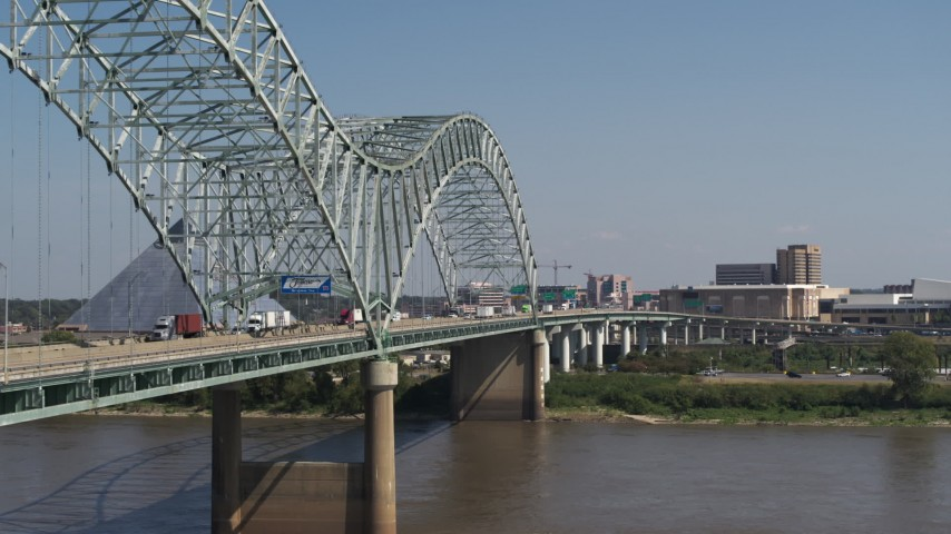 5.7K stock footage aerial video of cars crossing the bridge to Memphis, Tennessee Aerial Stock Footage | DX0002_177_030