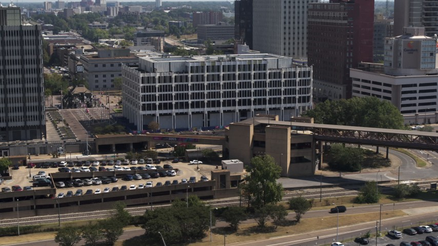 5.7K stock footage aerial video of view of city hall in Downtown Memphis, Tennessee during descent Aerial Stock Footage   DX0002_177_033