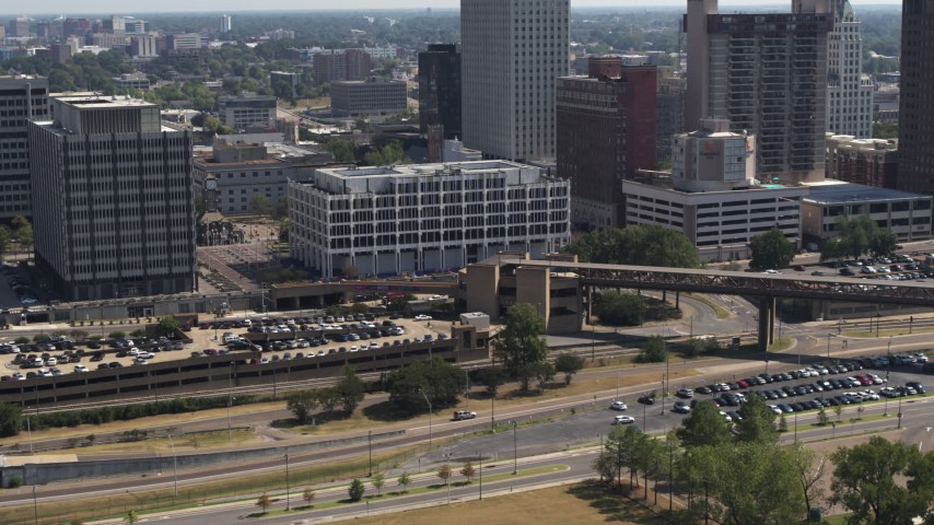 5.7K stock footage aerial video of ascending away from city hall in Downtown Memphis, Tennessee Aerial Stock Footage | DX0002_177_035
