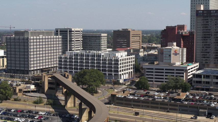 5.7K stock footage aerial video of an orbit of city hall in Downtown Memphis, Tennessee Aerial Stock Footage | DX0002_177_037