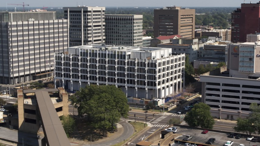 5.7K stock footage aerial video of flying toward city hall in Downtown Memphis, Tennessee Aerial Stock Footage | DX0002_177_038