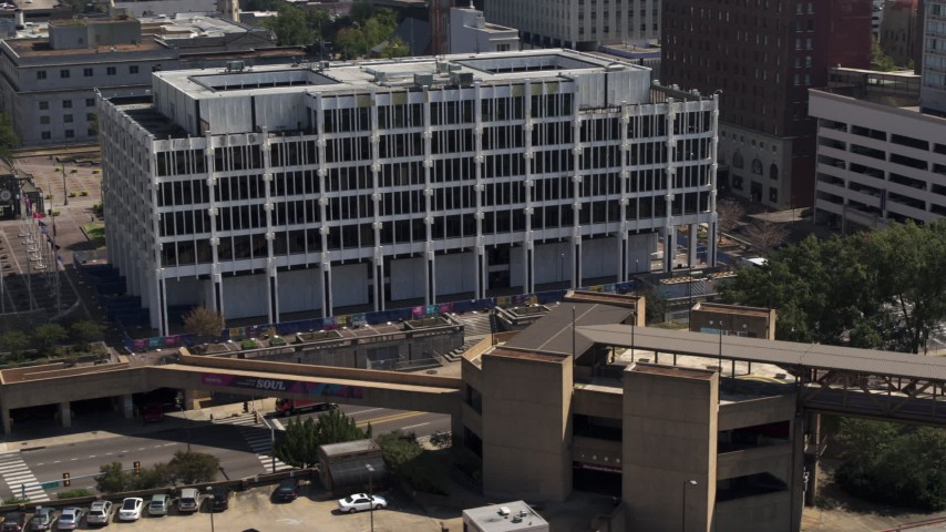 5.7K stock footage aerial video of a close orbit of city hall in Downtown Memphis, Tennessee Aerial Stock Footage | DX0002_177_039