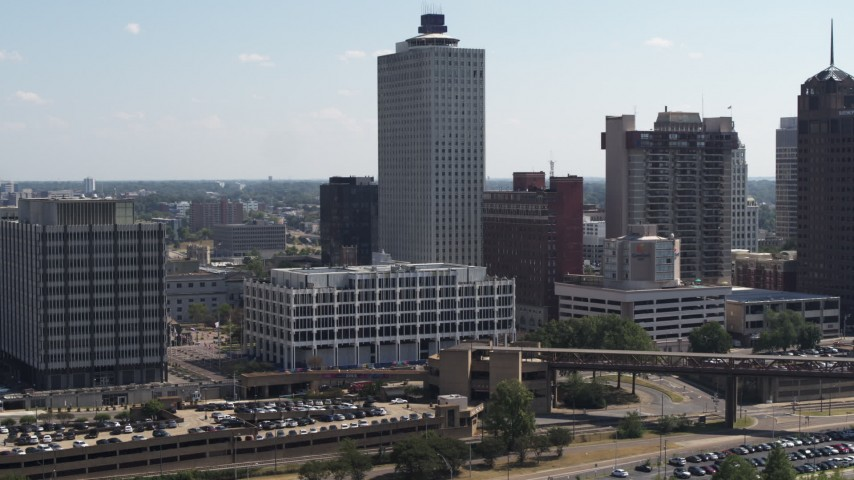5.7K stock footage aerial video reverse view and orbit of city hall and office tower in Downtown Memphis, Tennessee Aerial Stock Footage | DX0002_177_040
