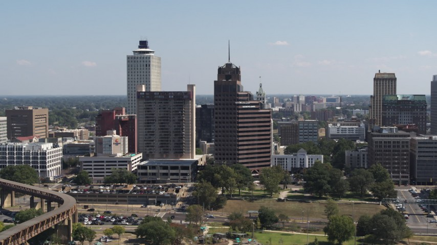 5.7K stock footage aerial video stationary view of a tall office tower with spire in Downtown Memphis, Tennessee Aerial Stock Footage | DX0002_177_042
