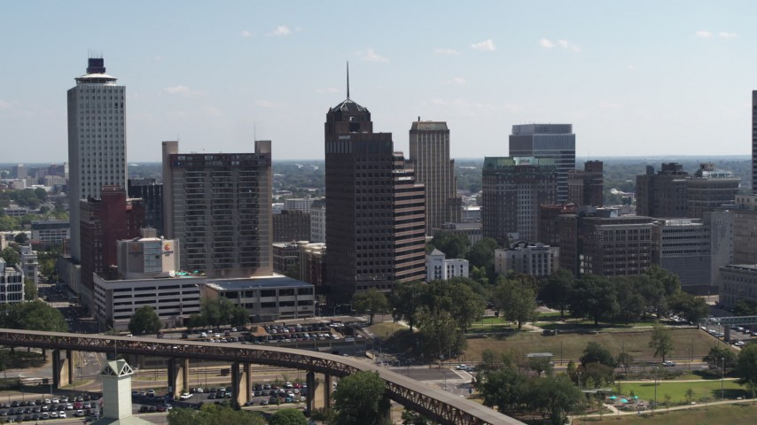 5.7K stock footage aerial video orbit an office tower with spire in Downtown Memphis, Tennessee Aerial Stock Footage | DX0002_177_043